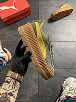 Женские кроссовки Puma Rihanna Suede Platform Green, Реплика, фото 1