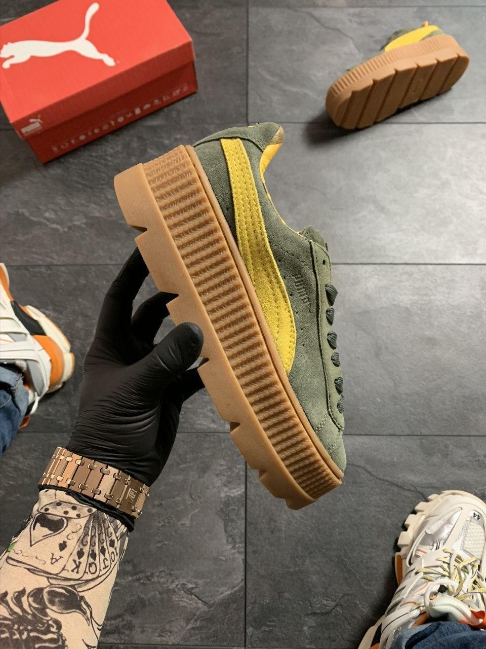 Женские кроссовки Puma Rihanna Suede Platform Green, Реплика