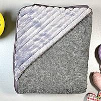 Детское полотенце для купания с плюшевым уголком, тёмно-серый, размер 100х120 см