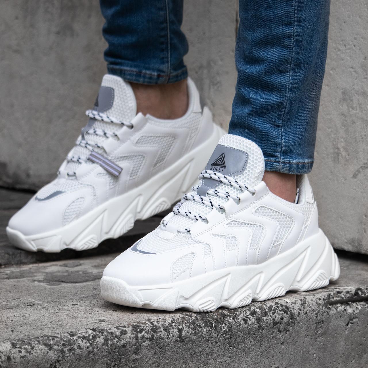 Мужские белые кроссовки STILLI обувь мужская демисезонная Размеры ( 41,42,43,44,)
