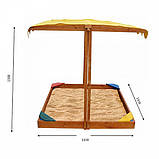 Песочница из дерева с навесом Sahara 145х145см, фото 3