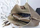 Женская сумка цвета мокко, эко-кожа структурная, фото 2