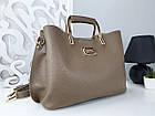 Женская сумка цвета мокко, эко-кожа структурная, фото 3