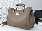 Женская сумка цвета мокко, эко-кожа структурная, фото 6