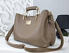 Женская сумка цвета мокко, эко-кожа структурная, фото 7