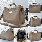Женская сумка цвета мокко, эко-кожа структурная, фото 8