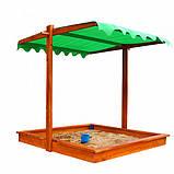 Песочница из дерева с навесом 22 145х145см, фото 4