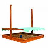 Песочница из дерева с навесом 22 145х145см, фото 7