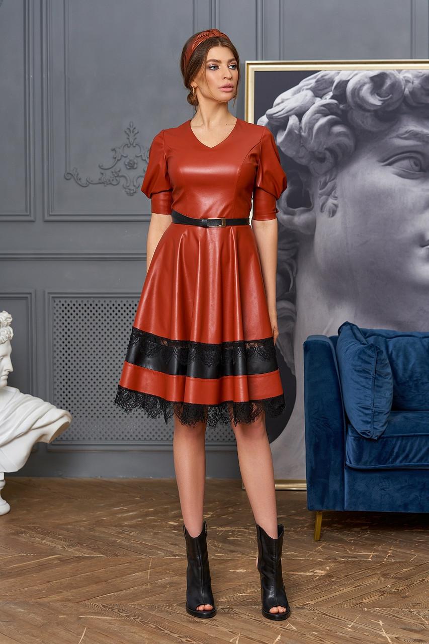 Оригинальное кожаное платье с кружевом Assol (42–48р) в расцветках