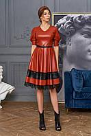 Оригинальное кожаное платье с кружевом Assol (42–48р) в расцветках, фото 1