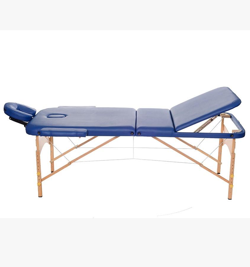 Массажный стол 3-х секционный (дерев. рама)синий HY-30110B