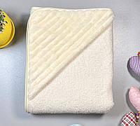 Детское полотенце для купания с плюшевым уголком, бежевое, размер 100х120 см