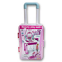 Трюмо у валізі для дівчаток 008-923 Зі світлом і музикою. Фен дзижчить і дме, фото 3