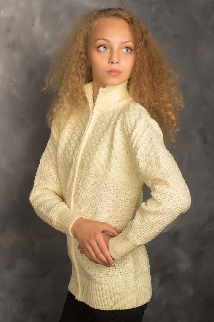 Кофта для девочек вязанная на замке, бежевый, 140см