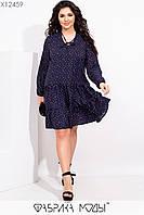 Воздушное платье свободного кроя с вырезом на завязках с 50 по 60 размер
