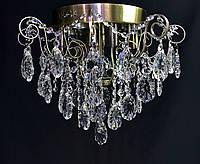 Хрустальная люстра бронза 4 лампочки и светодиодная подсветка, фото 1