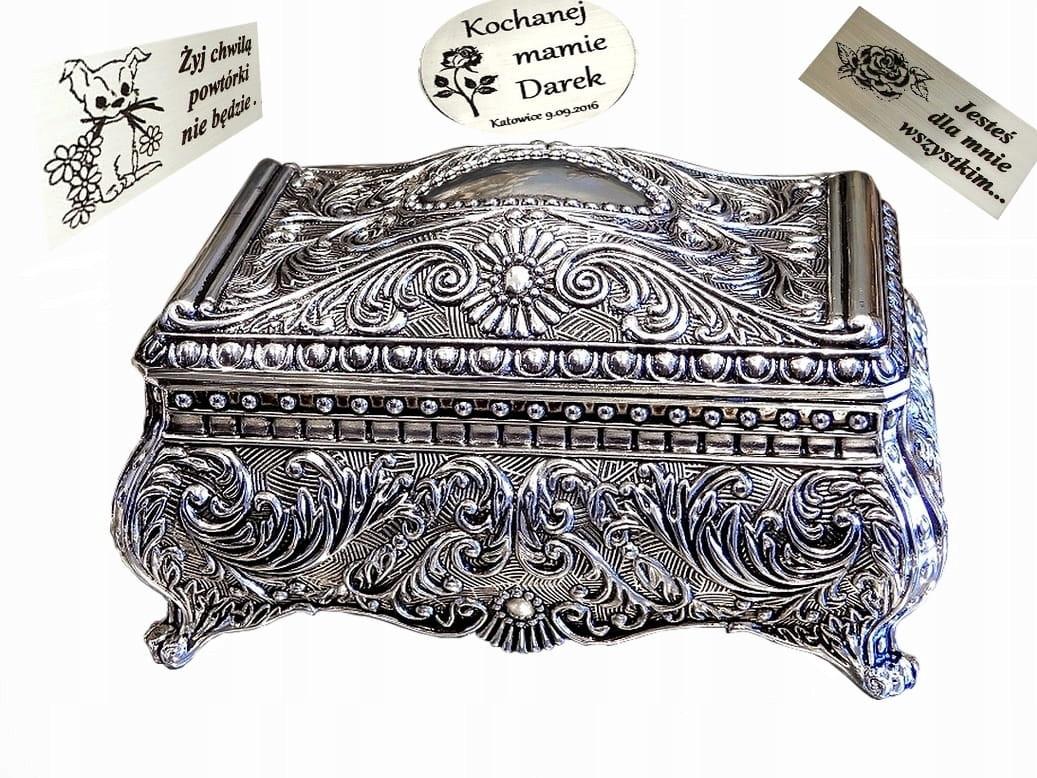 Посеребренная винтажная шкатулка для украшений Grace + бесплатная индивидуальная гравировка