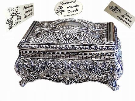 Посеребренная винтажная шкатулка для украшений Grace + бесплатная индивидуальная гравировка, фото 2