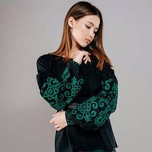 Вышитая женская блуза Полина на черном натуральном льне