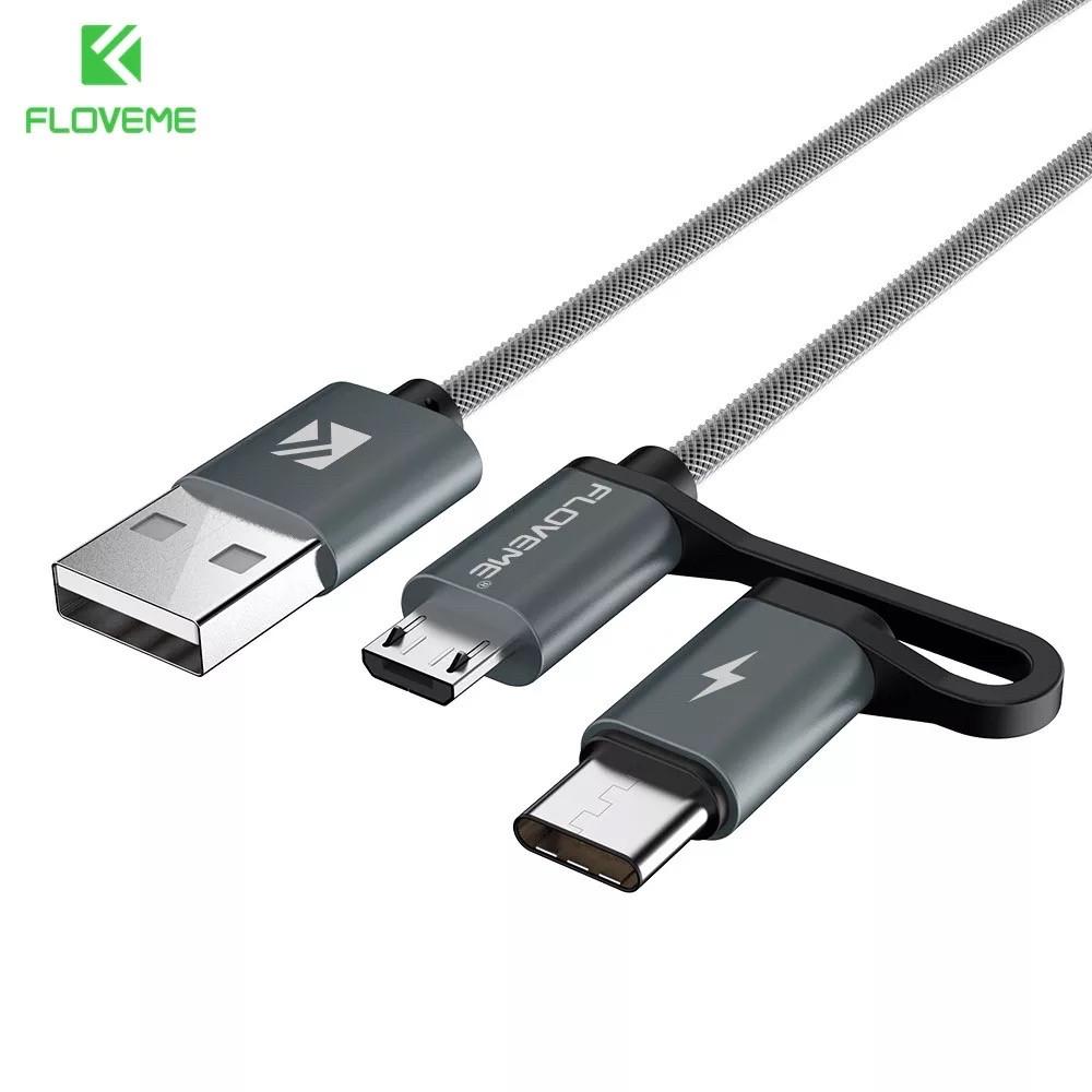 Usb кабель-трансфомер 2в1 Type C и micro usb  для быстрой зарядки и передачи данных 1 м  (серый)