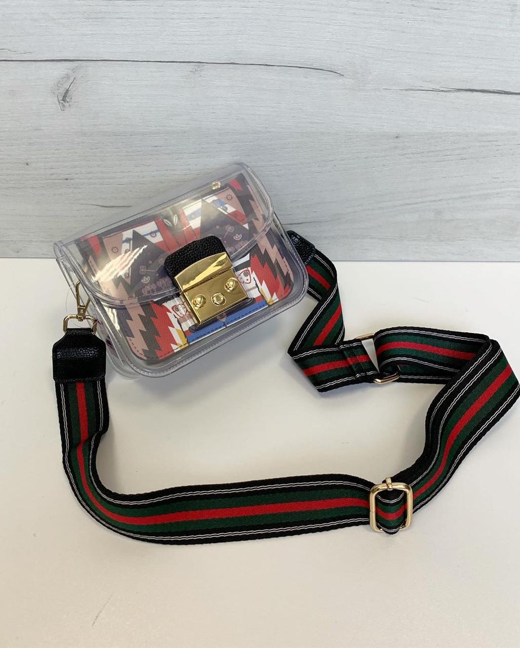 Сумка в стилі Фурла силіконова з кольоровим широким ремінцем різнобарвна (0466-black3)