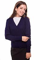 Кофта для дівчаток в'язана на ґудзиках, синій, 128см