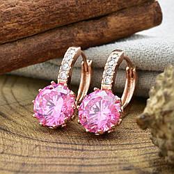 Серьги Xuping 24552 размер 19х9 мм вес 4.8 г розовые фианиты позолота РО