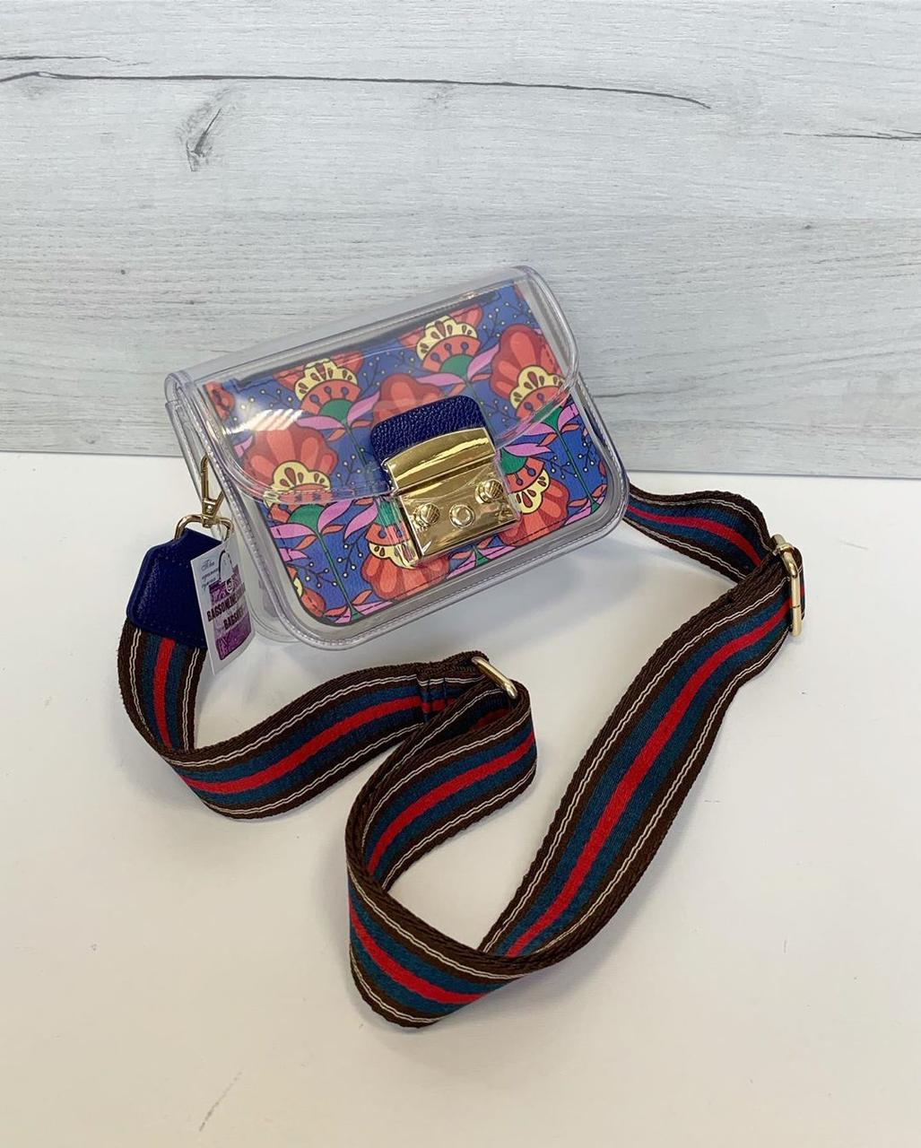 Сумка в стилі Фурла силіконова з кольоровим широким ремінцем різнобарвна (0466-red)