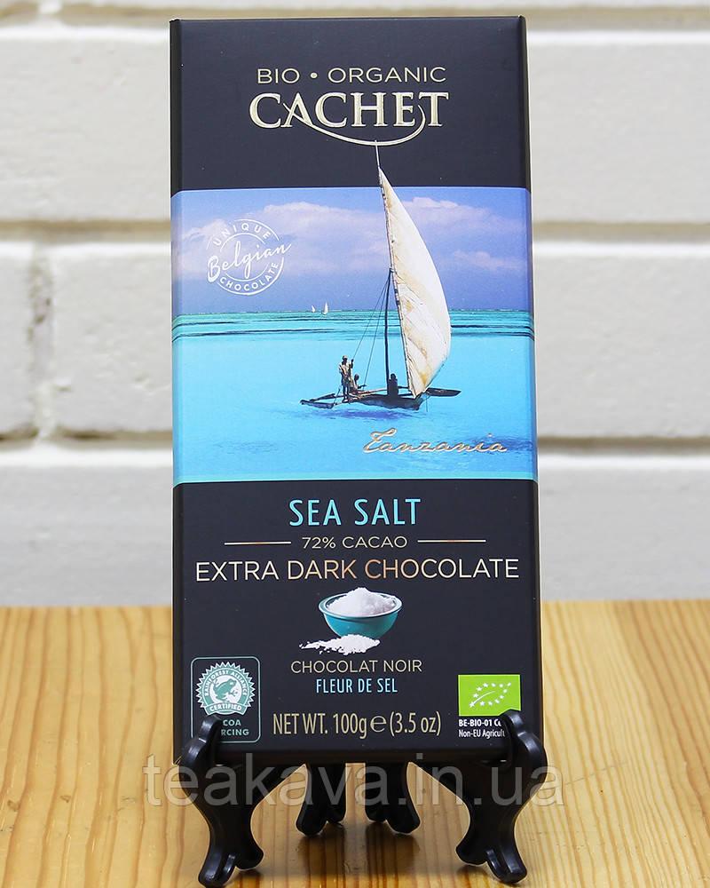 Шоколад Cachet Bio Organic екстра чорний з морською сіллю 72%, 100 г