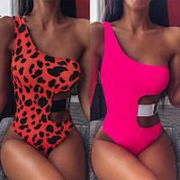 Самый красивый женский розовый и леопардовый сдельный купальник с чашками