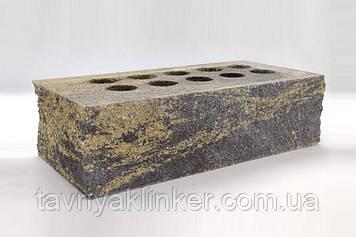 """Облицювальна цегла """"Літос"""" Колотий стандарт тичкова пустотіла Візантія (чорно-жовтий) 220*100*65"""