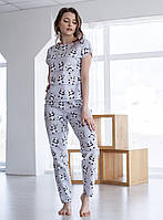 Пижама женская хлопковая панды на сером (штаны + футболка)