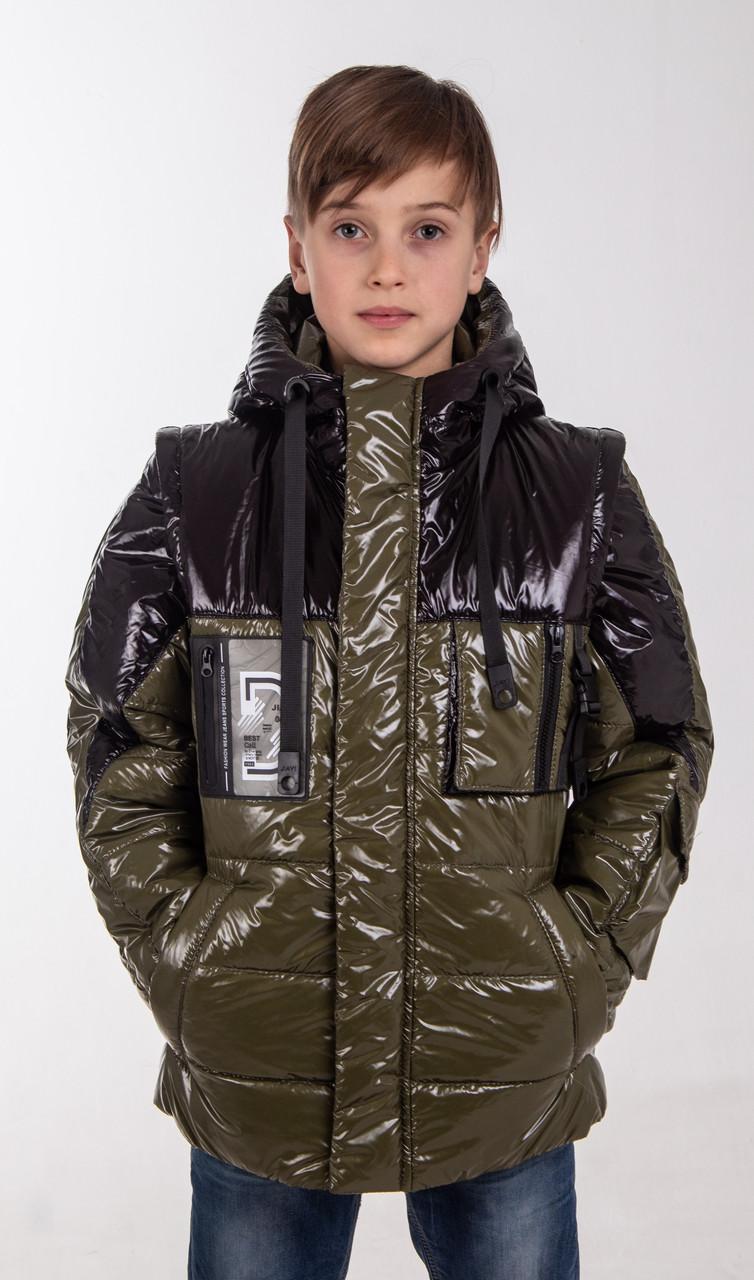 Куртки на мальчика демисезонные удлиненные  34-42 хаки