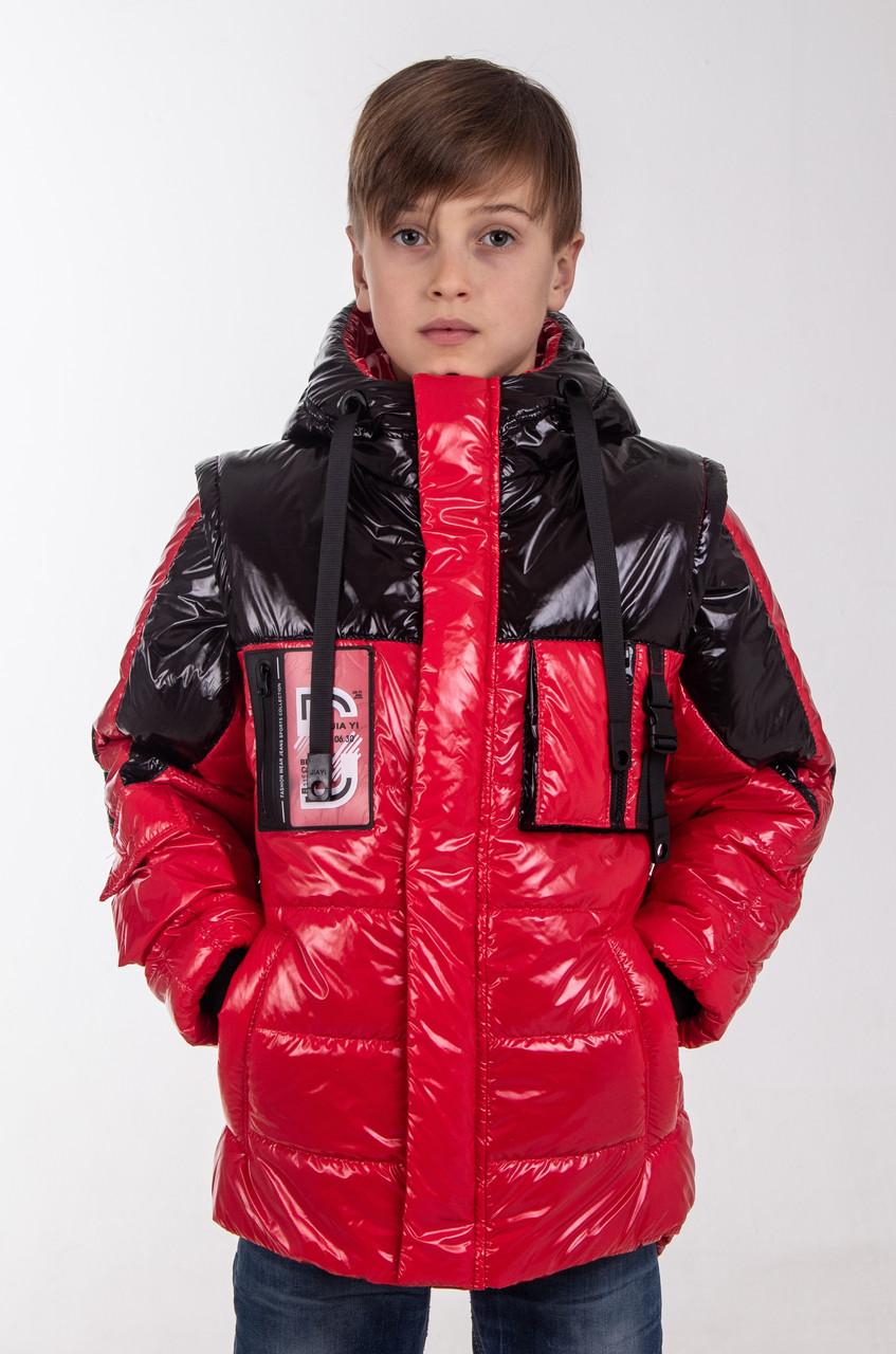 Куртка для мальчика подростка осень интернет магазин   34-42 красный+черный
