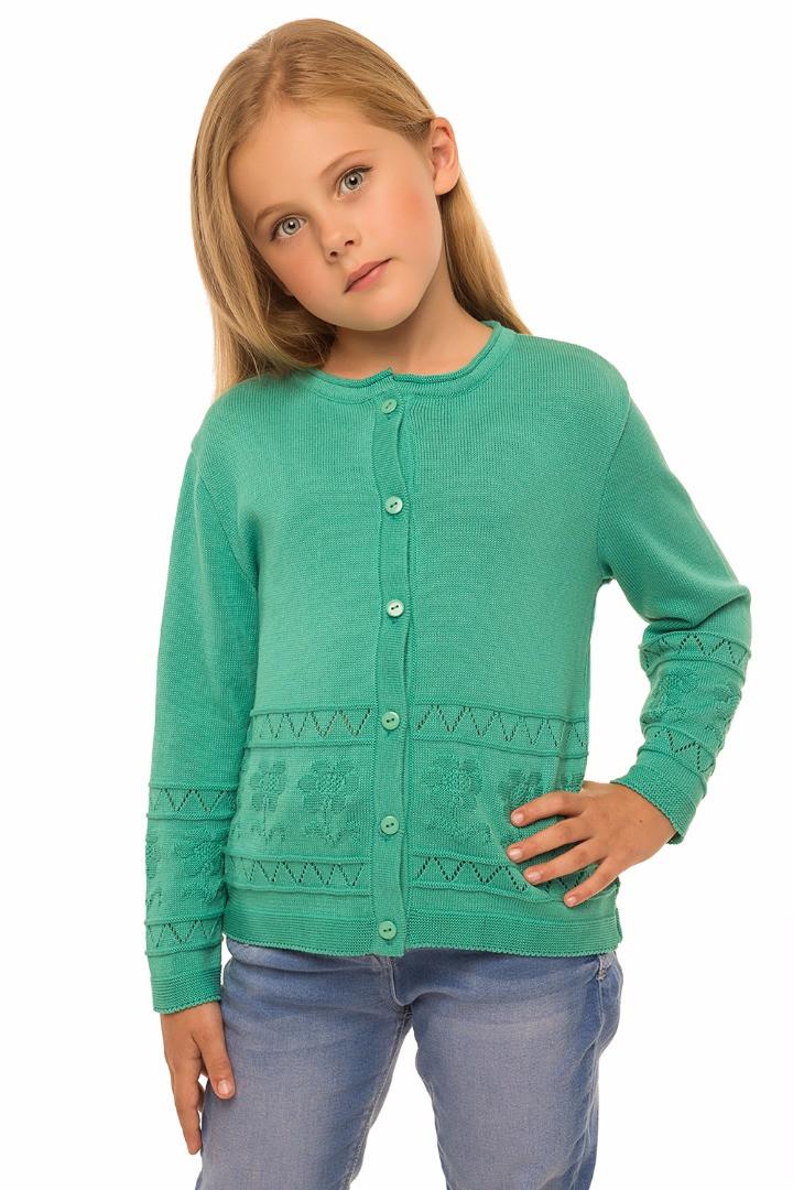 Кофта для девочек вязанная на пуговицах, 110см
