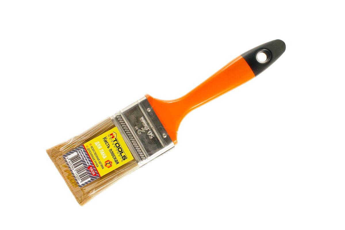 """Кисть плоская для лака 2,0"""" (50мм/14мм/58мм), искуственная щетина, деревянная ручка HTools, 93K320"""