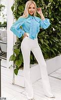 Брюки завышенная талия женские демисезонные креп-костюмка 42-48 размеров,цвет молочный
