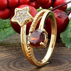 Кольцо Xuping 11876 размер 17 ширина 12 мм красные фианиты вес 2.9 г позолота 18К