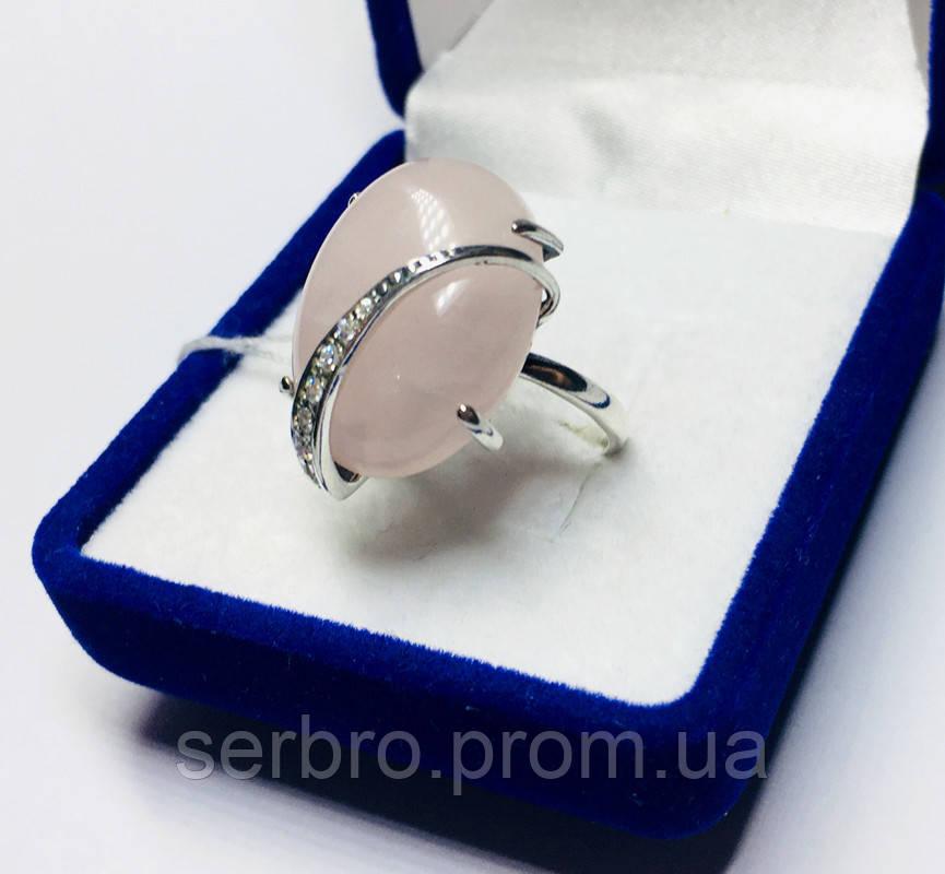 Срібне кільце з великим рожевим кварцом Філадельфія