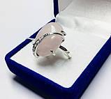 Срібне кільце з великим рожевим кварцом Філадельфія, фото 3