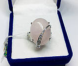 Срібне кільце з великим рожевим кварцом Філадельфія, фото 4