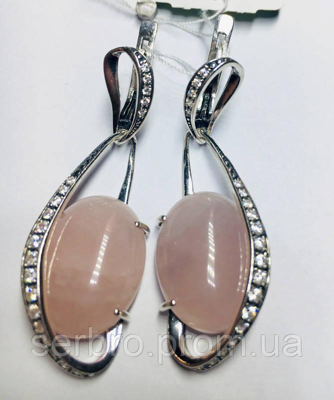 Серьги в серебре с подвесом и розовым кварцем Филадельфия