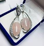 Серьги в серебре с подвесом и розовым кварцем Филадельфия, фото 2