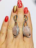 Серьги в серебре с подвесом и розовым кварцем Филадельфия, фото 3