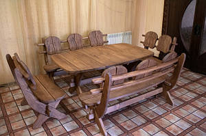 Мебель из массива термодерева 1750х1100, комплект Thermo-treated Oak Furniture. Стол и 4 лавки из термодуба, (42) фото