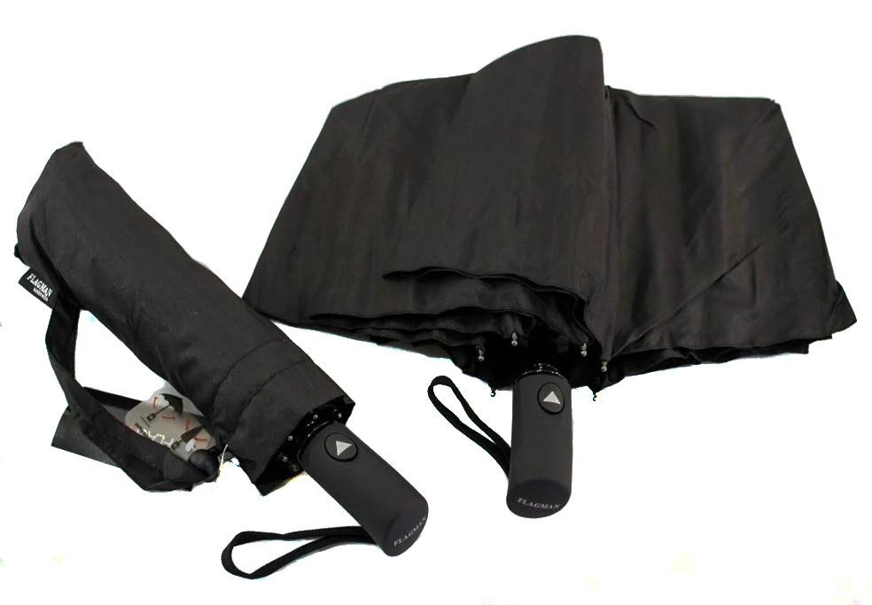 Зонт мужской полуавтомат с куполом 97 см Flagman черный. Анти-ветер, 8 спиц.