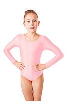 Купальник для танцев и гимнастики Розовый из бифлекса (рост от 98см до 140см)