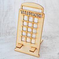 """Фигура из фанеры 0,4 """"Подставка под телефон """"England"""", упаковка 22*12 см. код: 741577"""