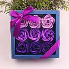 ОПТ Оптом - Подарунковий набір квіткового мила Rose Garden з 9 троянд для дівчат і жінок в коробці з бантиком, фото 2