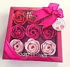 ОПТ Оптом - Подарунковий набір квіткового мила Rose Garden з 9 троянд для дівчат і жінок в коробці з бантиком, фото 4